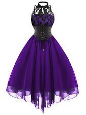 Women's Gothic Backless Cross Back Lace Panel Corset Dress Vintage Flare Dress