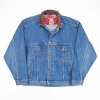 Vintage MARLBORO Lined Blue Grunge Cotton Casual Denim Jacket Mens L