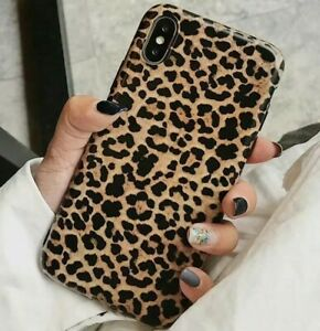 For iPhone X XS Max XR - Hard TPU Rubber Case Cover Brown Black Leopard Cheetah