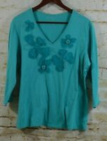 Chico's Womens Sz 3 XL Teal Blue Floral Applique V Neck 3/4 Sleeve Top