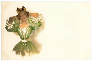 1900 ca VIENNE Lady in a green dress - Postcard A. SOCKL n° 10