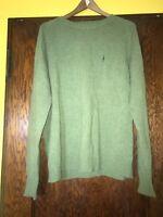 J Crew Men's 100% Lambswool Crew Neck Sweater Size XL Green Long Sleeve C1