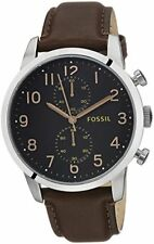Fossil Townsman Black Dial SS Brown Leather Chrono Quartz Mens Watch FS4873