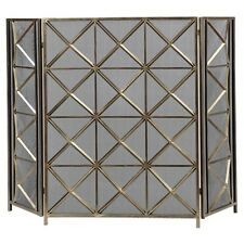 "Geometric Diamond Modern Fireplace Fire Screen Contemporary Forged Metal 49""W"