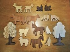 WOODEN CARVED ANIMAL FARM TREE FIGURES~16 PIECES