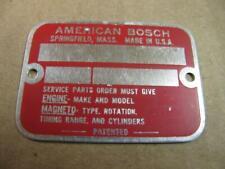 Unused Blank American Bosch Magneto Serial Number Id Tag Plate