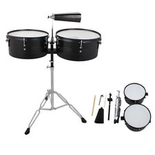 """13"""" & 14"""" Timbales Drum Set Premium Steel Cowbell and Cowbell Holder US"""