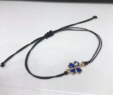 Gold  Blue Eye  Black cord Lucky Bracelet Protection Evil Eye