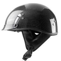 DOT Real Carbon Fiber Motorcycle Half Helmet w/Sun Visor Gloss Black for Chopper