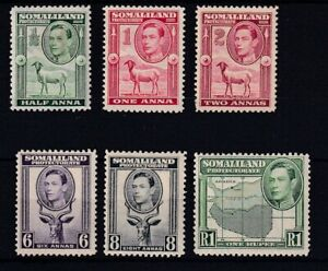 SOMALILAND 1938 Definitive Values to R1 (8A small paper adhesion) LMM