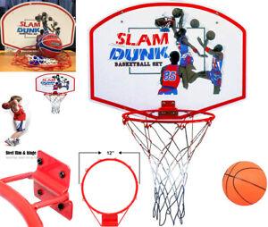 "Slam Dunk Basketball Hoop Set 19"" Wooden Backboard + 11"" Steel Rim Indoor/Outdo"
