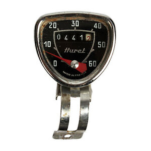 Vintage HURET Black Dial Case 60 Mph Bicycle Bike Speedometer Made in France