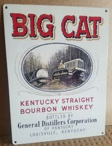 Big Cat Kentucky vintage bourbon label ad reproduction steel sign bar decor