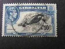 GIBRALTAR, SCOTT # 117, 10/-.VALUE BLUE & BLACK 1943 KGV1 USED