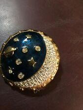 Vintage Swarovski Moon And Stars Celestial Pin Cotton Carnival Ueuq Signed 1993