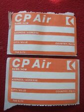 AIRLINE BAGGAGE STICKERS X 2 CP AIR 1980'S / 90'S VINTAGE