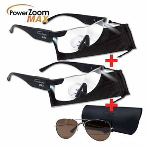 Power Zoom Max 2 x Pairs Glasses Spectacles Led Plus Aviator Style Sun Glasses