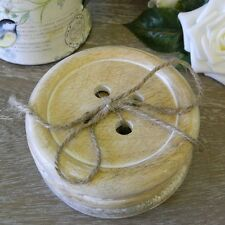 Rustic Set of 6 Button Coasters Shabby Vintage Chic Table Accessory Home Gift