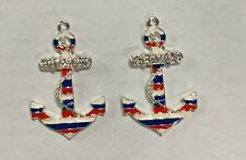 "SHIPS FREE! 2"" Enamel Rhinestones Pendants Set OF 2 US NAVY ANCHORS USA FLAG"