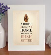 "Irish Setter 10"" x 8"" Free Standing A HOUSE IS NOT A HOME Picture Mount Fun Gift"