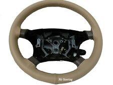 REAL BEIGE LEATHER STEERING WHEEL COVER FOR TOYOTA LAND CRUISER PRADO J120 02-09