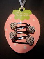 mini hair clips,girls/baby hair clips hair slides snap clips silver hearts x4pcs
