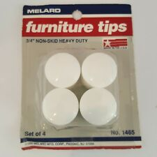 "Melard 3/4"" Furniture Tips Non Skid Heavy Duty White Easy Glide Plastic Vintage"