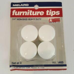 "Melard 3/4"" Furniture Tips Non Skid Heavy Duty White Easy Glide Plastic Vintage"