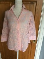 Ladies Shirt by Damart Size 14 Pale Pink Floral NWOT