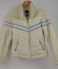Women's ABERCROMBIE & FITCH White Coat Size Large red/blue stripes puffy nylon