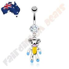 316L Surgical Steel CZ Gem Belly Ring with Multi Epoxy Colour Teddy Bear Dangle