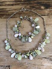 Green Quartz Freshwater Pearl Multi Stone Sterling Silver Necklace Bracelet Set