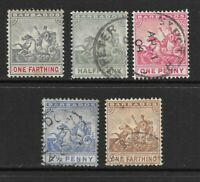 1892 to 1909 Queen Victoria Collection of 5 Stamps Fine Used BARBADOS