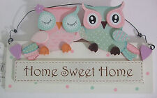 "Shabby Chic Owl Wooden Wall Hanging Plaque "" Home Sweet Home """