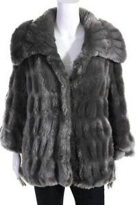 Elie Tahari Womens Faux Fur Solid Short Coat Gray Size S