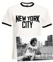 John Lennon Vintage Ringer Black and White New York City T-Shirt The Beatles