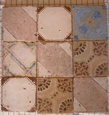nove riggiole piastrelle mattonelle maioliche antiche in cotto 20x20 lotto 159