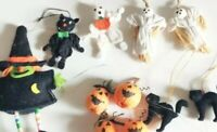 Halloween Decorations Witch Black Cat Pumpkins Ghosts