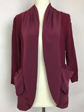 Kimchi Blue Womans Open Front Jacket Size XS Wine Color 3/4 Sleeve