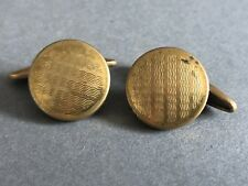 Classic Vintage Men's Cufflinks - Gold Tone Cross Hatched Metal - Chain Style