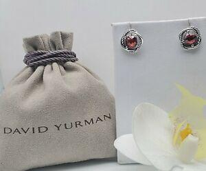 David Yurman Sterling Silver Infinity w/ Red Garnet stone Cable Stud Earrings