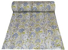 Indian Kantha Quilt Bedding Bedspread Blanket Throw Cotton Hand Block Print