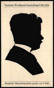 Deutsche Werkbund-Ausstellung Köln 1914 * orig. Scherenschnitt Silhouette J.PICK