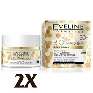 2X Eveline BIO Manuka 50+ Day and Night Anti Wrinkle Face Cream Tratment 50ml