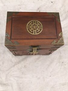 ANTIQUE ASIAN WOOD & BRASS JEWELRY BOX