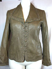 Ellen Tracy Italian Leather Solid Taupe Jacket w/Hand-Braid Trim 8 MSRP $1050