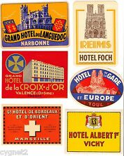 LUGGAGE LABELS GROUP OF 6 FRENCH HOTELS REIMS VICHY MARSEILLE NARBONNE TOUL