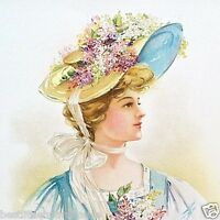 Original 1908 Wild Flowers EASTER HAT Victorian LITHOGRAPH PRINT New York NOS