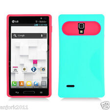 LG Optimus L9 T-Mobile P769 Hybrid Case Skin Pastel Cover Light Green Hot Pink