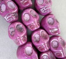 10Pcs Purple Howlite Turquoise Skull Beads Finding--18mmx14mm